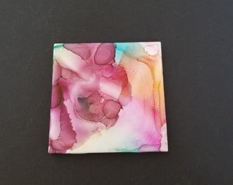 Decorative Tiles/Abstract Art/Glass/Intuitive Art/Ceramic Tile Art/tabletop/Wall hanging/Retro/Unique alcohol ink design