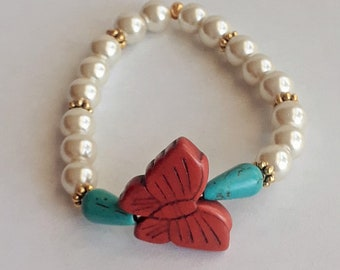 Pearl Bracelet with Butterfly-Spring Time