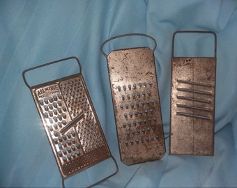 3 vintage graters, All in one grater, vintage hand held graters