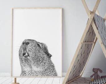 Guinea Pig Print, Nursery Printable, Farm Animal Wall Art, Zoo Photo, Cute Children Poster, Kids Room, Black & White Decor, Digital Download