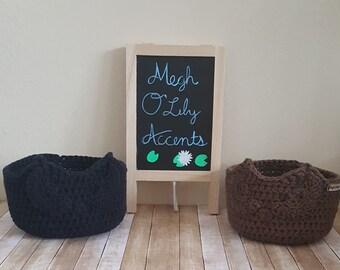 Small Owl Basket, Owl Basket, Crochet Cotton Owl Basket, Made to Order, 25 Color Options