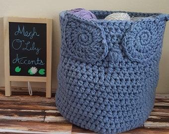 Crochet Owl Basket, Cotton Owl Basket, Made to Order, 25 Color Options