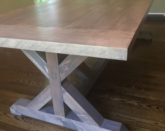 Maple Table - Dining Table - Trestle Legs - Hardwood - Rustic - Farmhouse