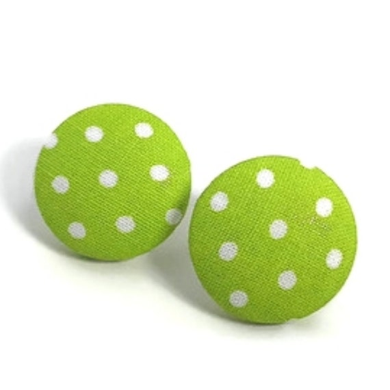 Forest Green Polka Dot Fabric Button Earrings