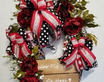 Arkansas Razorback Wreath Grapevine Wreath Red & White Woo Pig Sooie