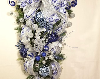 Christmas Blue, White & Silver Swag, Wall or Door Christmas Decoration, Christmas Holiday Décor