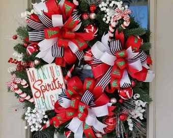 Christmas Wreath, Red White Black Stripe Bow, Christmas Wall or Door Wreath, Christmas Decor