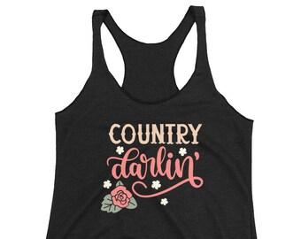 Country Darlin Tank/ Hello Darlin Shirt/ Darlin Tank/ Country Girl Tank/ Southern Tank/ Southern Girl Gift/ Country Music Tank/ Darlin Shirt