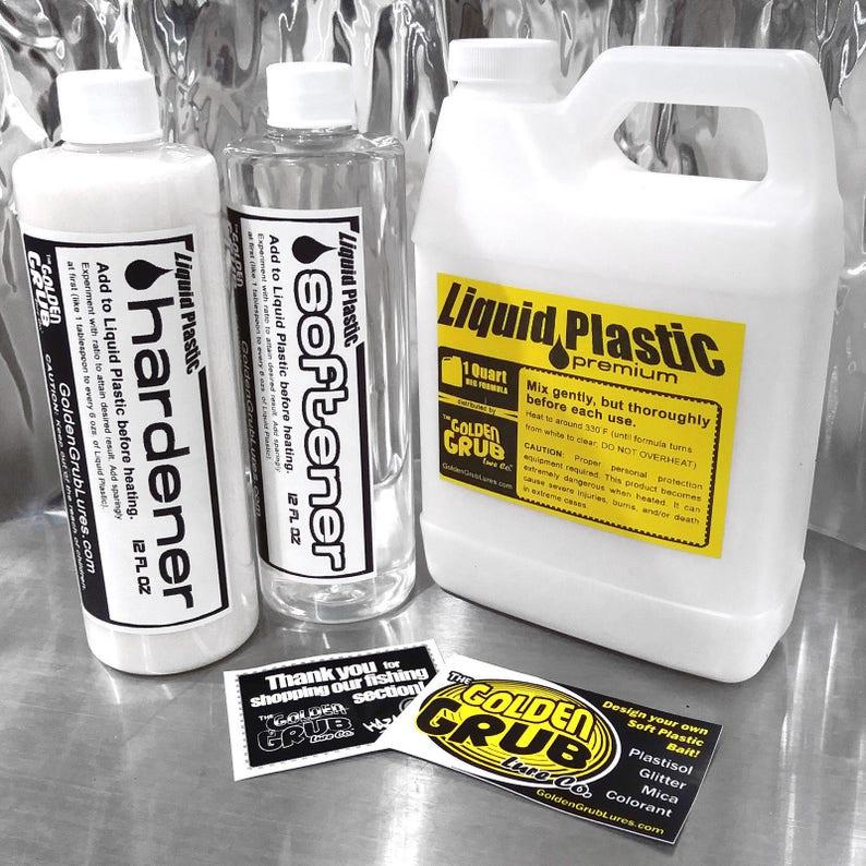 NEW 3 PIECE KIT Liquid Plastic / Hardener / Softener for plastisol Fishing  Soft