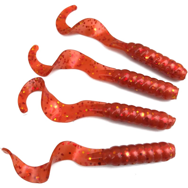 """NEW 50//pack Pearly Orange PEPPER CRAW 3/"""" Garlic Grubs Fishing Curly Tail Plastic"""