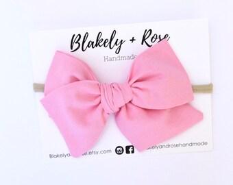 c45499b7e2dd Bubblegum Pink Pinwheel Bow, Handtied Bow, Oversized Pink Bow, Nylon  Headband, Alligator Clip, Oversized Bow, Headband for Girls