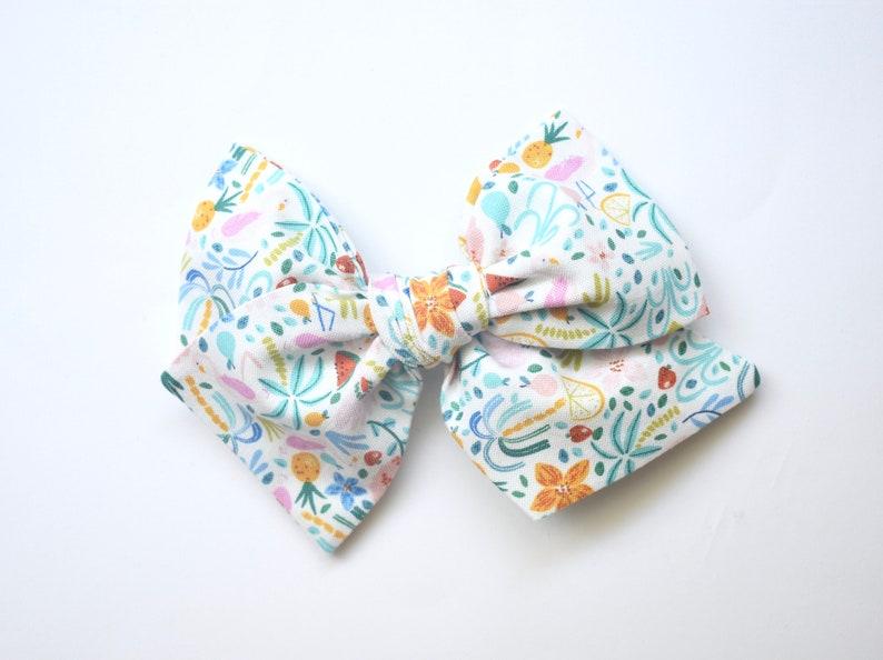 Alligator Clip Tropical Pinwheel Bow Summer Fun Pinwheel Bow Flamingo Bow Nylon Headband Schoolgirl Bows Oversized Schoolgirl