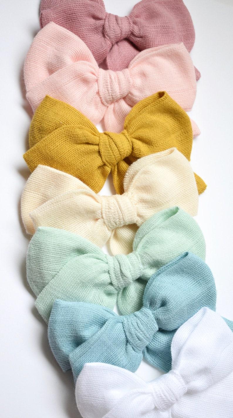 Pink Baby Headband Bow Toddler Hair Clip Handtied Bows White Bow Double Gauze Pinwheel Bows Bow on Nylon Headband or Alligator Clip