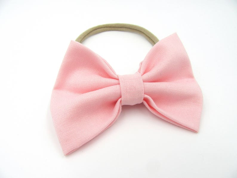 Non Slip Grip Bow Clip Nylon Baby Bow Bow on Nylon Headband Light Pink Bow Newborn Baby Bow Alligator Clip Ballet Pink Baby Bow