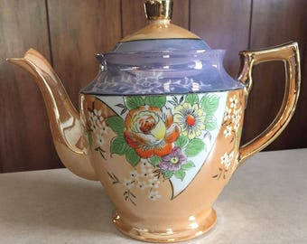 Vintage Lusterware made in Japan teapot, gorgeous and generous size