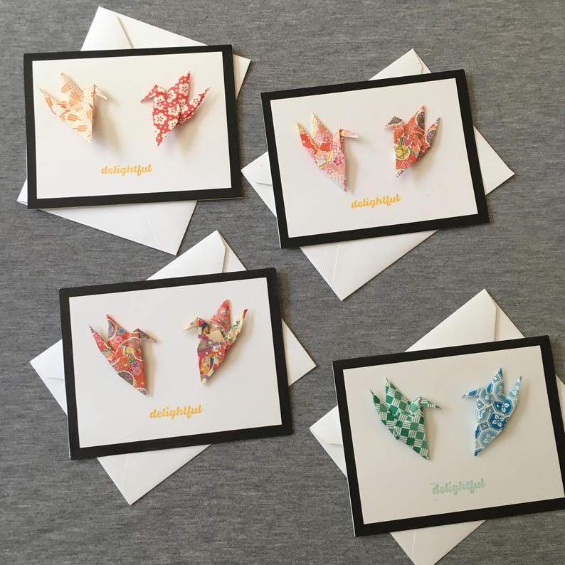 delightful origami crane greeting card handmade paper