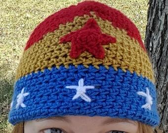 Wonder Woman Inspired Crochet Hat
