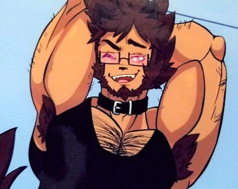 Samson Showing Off His Muscles /// Bookmark Sticker Laminated Charm Resin Pin Keychain Print