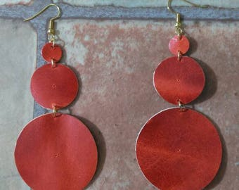 Handmade Circle Leather Earrings Italy