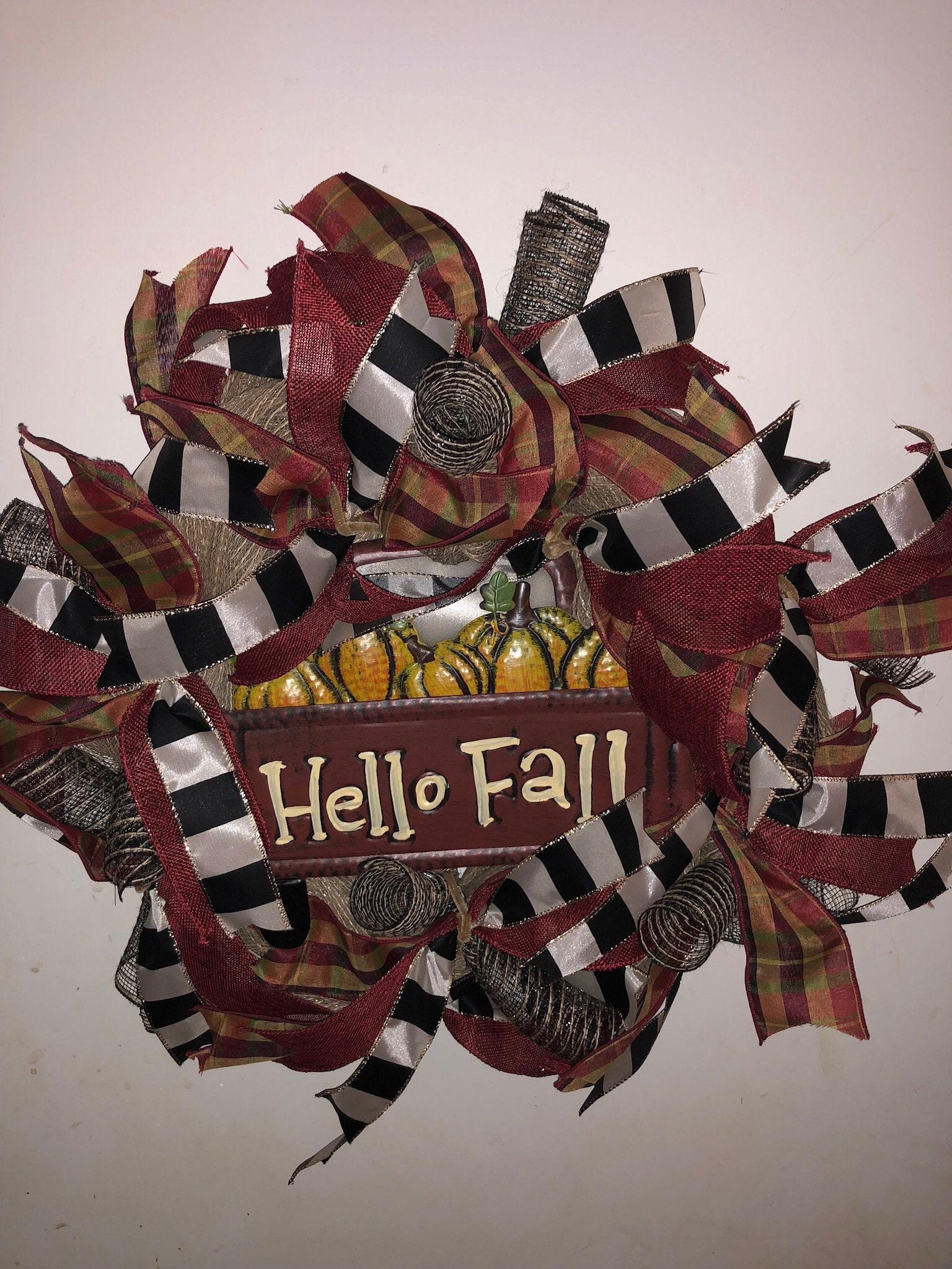 Hello Fall Wreath Vintage Truck Wreath Pumpkin Wreath Red Etsy