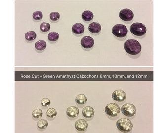 Wholesale lot of 4 Natural Rose Quartz and Beer Quartz Round Rose Cut Cabochons Faceted 8mm 10mm 12mm Loose Stones Flat Back Gemstones