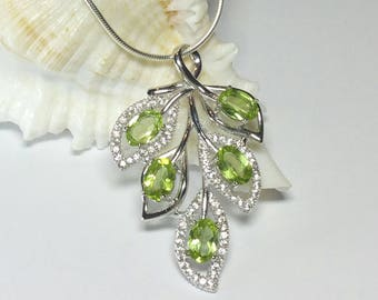 Peridot Gemstone Necklace, Cubic Zirconia Necklace, Natural Peridot Leaf Necklace, 925 Sterling Silver Jewellery, August Birthstone Gift
