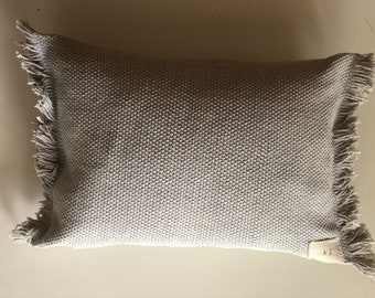 Greige Hand Woven Pillow with Insert 12 x 16
