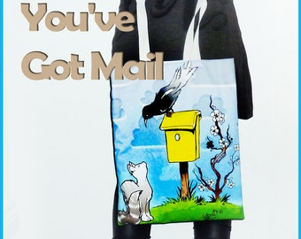 You've got MAIL bag, Medium size, cat bird mailbox printed, design tote bag, luxury shopping bag