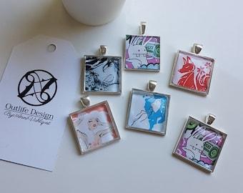 Amazing Glass Pendant Necklace, Glass Pendant, Pendant Necklace, Gothic style, lady, anchor, unique