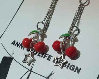 cherry, lock, star shape earrings, gothic, pin up, Scandinavia minimalist style