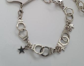 handcuffs shape bracelet, gothic, pin up, Scandinavia minimalist style, nautical star