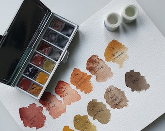 Holbein Brown tones, Handmade watercolor palette tin paint set samples Travel set Mini - Let's go anywhere
