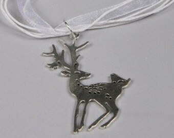 Deer Necklace, Reindeer Necklace, Christmas Jewelry, Large Flat Deer And Bird Charm Silver