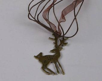 Deer Necklace, Reindeer Necklace, Christmas Jewelry, Large Flat Deer And Bird Charm Bronze