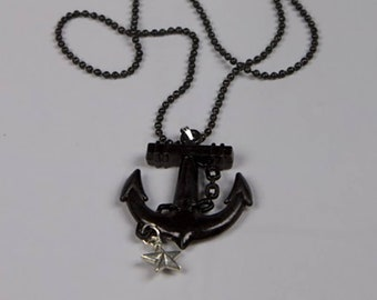 Anchor necklace, pin up, gothic necklace, pop, black anchor, nautical star, Rockabilly