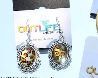 Leopard cameo earrings, gothic, pin up, kawaii, Scandinavia minimalist style