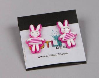 Bunny earings, sailor bunny, funny earings, earings cartoon, pin up, kawaii