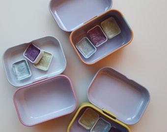 Mermaid Collection VOL 2 mini tin kit set - handmade metal pearl watercolor palette tin paint set pigments samples Travel set