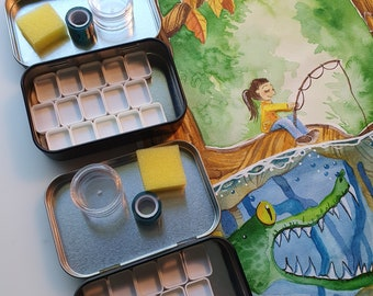 SALE! Watercolor Travel Palette Tin Case with 15 magnetic Pans, mixing cup, and washitape - travel kit