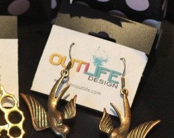 Bronze brass pin up bird swallow earrings, scandinavia minimalist style, Steampunk Antique Bronze