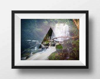 Ocean Photography, Let's go anywhere, Ocean Wall Print, Scandinavian poster, Sea Art Print, Photo Wall A4