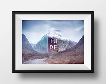 Nature Photography, Mountain Print, Scandinavian Print, Minimalist Nature Wilderness, Modern Minimalist poster