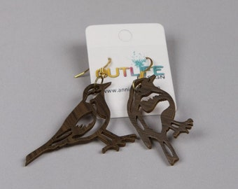 Wood geometric birds, Recycled earrings,scandinavia minimalist style wood
