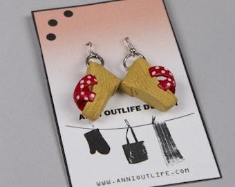 Barbie heels, Recycled earrings, scandinavia minimalist style, kawaii