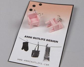 LAZY LADY, Recycled sofa earrings, Kawaii, scandinavia minimalist style