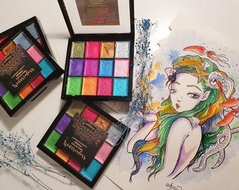 SALE! MERMAY Luxury Collection - handmade metal pearl watercolor palette paint set pigments set