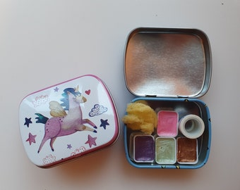 Unicorn Collection VOL 1  - handmade metal pearl watercolor palette tin paint set pigments samples Travel set, sponge and mini washitape