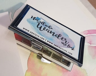 handmade watercolor palette tin paint set Mijello Gold mission samples Travel set - Not all who Wander are lost