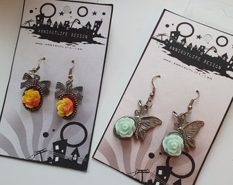 Rose Bow butterfly shape earrings, gothic, pin up, kawaii, Scandinavia minimalist style