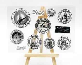Bullet Journal Planner Postal Airmail Stamp Airmail Par Avion Postmark Rubber Stamp Postage Clear Transparent Stamp Train Luggage Tag